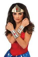 Wonder Woman Gold Tiara and Silver Cuffs Kit Women's Red Star Costume Accessory