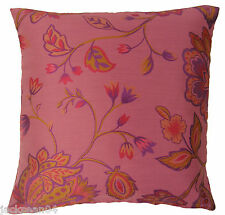 "PINK GOLD WOVEN FLORAL FLOWER LEAF LEAVES CUSHION COVER 18"" - 45CM #EISLE"