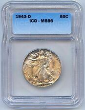 HIGH Grade 1943-D Walking Liberty Silver Half Dollar. ICG Graded MS 66. Lot#2433