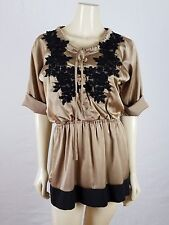 HOT & DELICIOUS Light brown (tan) with black lace Mini dress size S