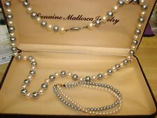 "VINTAGE MALLORCA 24"" GRAY & WHITE FAUX PEARL NECKLACE & BRACELET! MINTY IN O.B."