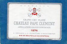 GRAVES GCC VIEILLE ETIQUETTE CHATEAU PAPE CLEMENT 1974 73  CL  RARE §25/03/16§