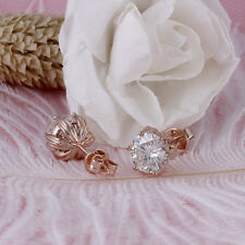 4Ct Round Cut Moissanite Flower Style Solitaire Stud Earrings 14K Rose Gold Over