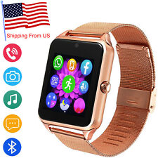 Women Gold Bluetooth Smart Watch Camera SIM GSM Phone Call For Android LG Google