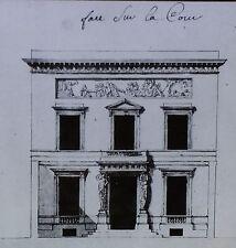 Elevation Drawing-Antoine Callet House, Paris, France, Magic Lantern Glass Slide