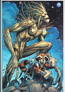 Groot & Rocket Hand Signed Print by Art Adams