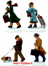 Dept. 56 Busy City Sidewalks Set of 4 Christmas in the City 58955 New