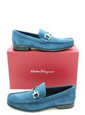 NIB Salvatore Ferragamo Mens Fiordi Gancini Bit Blue Suede Loafers 10.5 43.5 EE