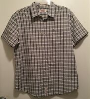 Men's Retro Vintage Rockabilly Penguin Gray & White Diamond Plaid Shirt XXL