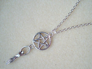 Earth Mother Goddess Pentagram Charm Amulet Necklace -  Wicca Pagan Witch