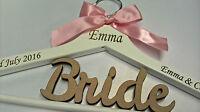 WHITE WOODEN WEDDING COAT HANGER BRIDE BRIDESMAID LASER ENGRAVED