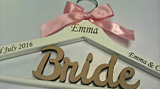 WHITE WOODEN WEDDING COAT HANGER BRIDE BRIDESMAID LASER ENGRAVED