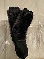 Hand Knitted Women Long Bootie Slippers Black Size 4-5