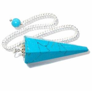 Turquenite Dowsing Point Pendulum Genuine Gemstone Dyed Howlite Crystal