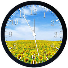 Sun Flowers Black Frame Wall Clock Nice For Decor or Gifts Z158