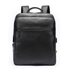 "1x Luxurious Mens Genuine Leather Travel Backpack 14"" Laptop Schoolbag Rucksack"
