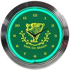 Erin Go Bragh Irish Shamrock St. Patrick's Day green neon sign clock Bar Light
