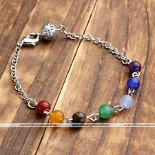 Reiki 7 Gems Resin Chakra Healing Point Bead Link Chain Bracelet Women Jewellery