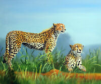 Cheetah Pair African Hunting Prey Big Cat Wild 20X24 Oil Painting  Stretched