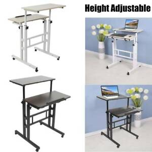 Computer Desk Stand Up Laptop Table Height Adjustable Double Desktop With Wheels