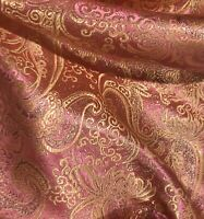 """Pink Gold Paisley Brocade Fabric 60"""" Width Sold By The Yard"""