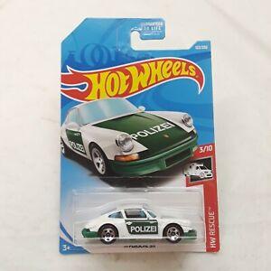 Hot Wheels '71 Porsche 911 Polizei Police White & Green 122/250 2019 New