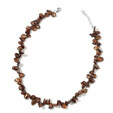 Keshi Chocolate Pearl Necklace (Size 18 with 2 inch Extender) in Silver Tone