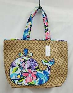 Vera Bradley Straw Beach Tote Bag with Flower *Marian Floral* Whale NWT