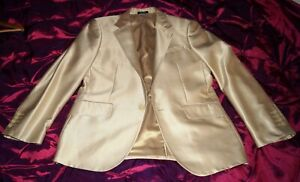DUNHILL beige / dull gold high sheen  Blazer single breast jacket size UK 40R