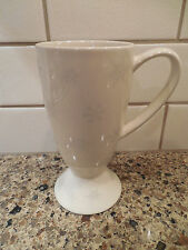 New listing Whittard of Chelsea Tall Latte Mug Off White with Silver Snowflakes Coffee Cup