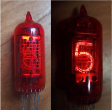 AMPOULE TUBE A CHIFFRES  ROUGE   HORLOGE A LAMPE NIXIE DARIO ZM1080 .