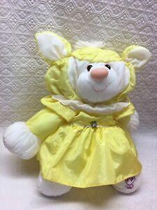 "1986 Vintage Fisher Price Puffalump 15"" Yellow Plush Stuffed Lamb in Dress"
