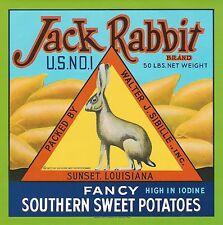 "1923 WESTERN HARE ""JACK RABBIT BRAND"" YAMS ORIGINAL CRATE LABEL SUNSET LOUISIANA"