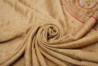 Vintage Beige Sari Crepe Mezcla de Seda Estampado Manualidades Tela Confección