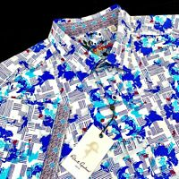 Robert Graham Geometric Medallion Check Short Sleeve Blue Sport Shirt XL $198