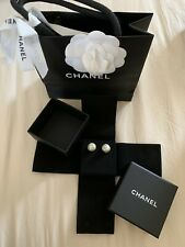 Rare New CHANEL Gold CC Logo Quilted Pearl Ball Pierced Post Back Studs Earrings