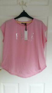 ELLE SPORT Beautiful Womens T-Shirt Pink Silver Glittery Logo Casual Size S
