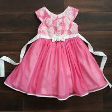 Jona Michelle Pink Rosette Floral Tulle Dress Size 6
