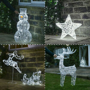 Plug In LED Light Up Outdoor Acrylic Christmas Decoration Reindeer Snowman Tree
