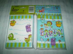 Toddlers Boys Little Monsters Birthday Party Invitations w/Envelopes New *D