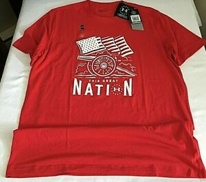 Under Armour 1316778-600 Men's Freedom Cannon Great Nation T-Shirt, Large, NWT