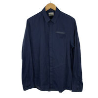 Calvin Klein Mens Button Up Shirt Size Medium Slim Fit Navy Blue Long Sleeve