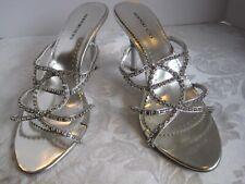 Newport News women's shoes 11 M silver rhinestone sandals strappy high heel mule