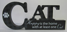 "Wooden Cat Cutout Plaque Reading ""happy Is The Home With at Least One Cat"""