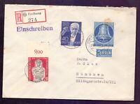 Berlin 1955 - Schöne Mischfrankatur mit Strauss und 30Pf. Glocke mitte (151)