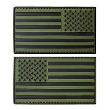set of 2 american USA flag PVC rubber olive drab green hook&loop patches