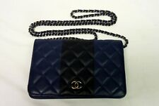 Authentic Chanel Calfskin Leather Wallet on Chain 3876-1
