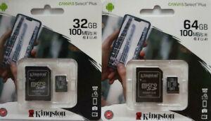 Neuheit KINGSTON-Speicherkarte-100 MB/s 64GB -J5-J7-A3-A5-S9 S10 Alle Handys Neu