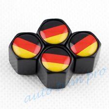 4X Black Auto Parts Wheel Rim Tire Tyre Valve Cap Stem Cover DE German Flag Trim