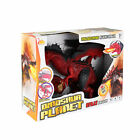 Dinosaur Planet Remote Control RC Walking Dragon Toy with Smoke (Red)